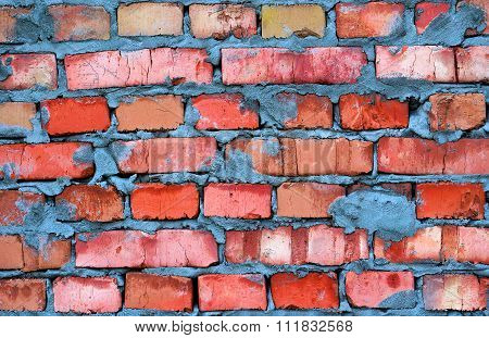 Fresh Red Clay Brickwork Contrast Detailed Texture Background
