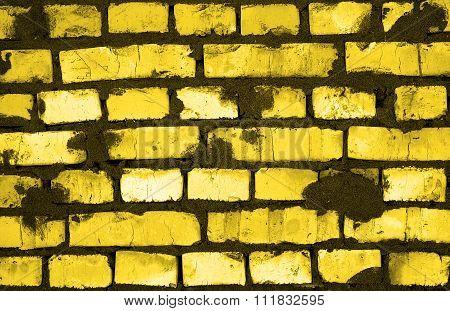 Fresh Golden And Black Clay Brickwork Detailed Texture Background