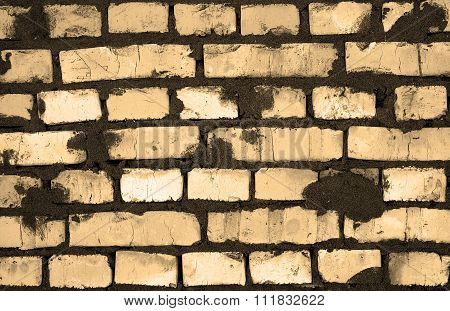 Fresh Sand Color Clay Brickwork Detailed Texture Background