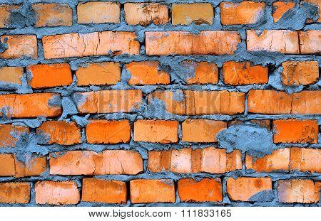 Fresh Orange Clay Brickwork Detailed Texture Background