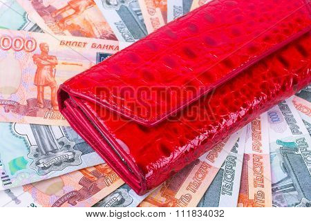 Red purse and a lot of Russian money