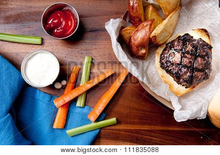 Pork Burger With Wedge Fries Take Out