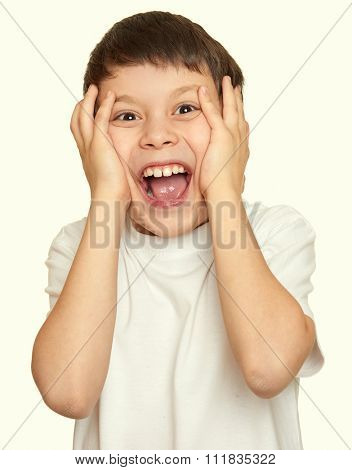 boy make faces, teenager fun portrait closeup