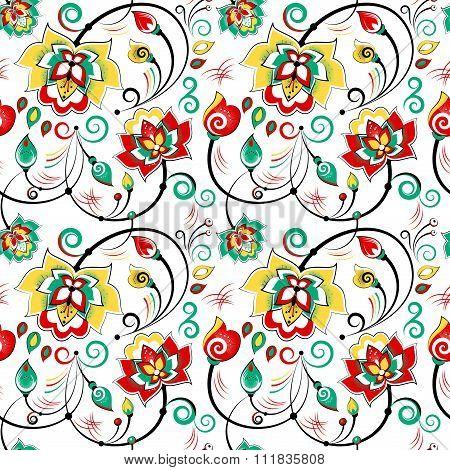 Floral Seamless Pattern In Slavic Folk Style