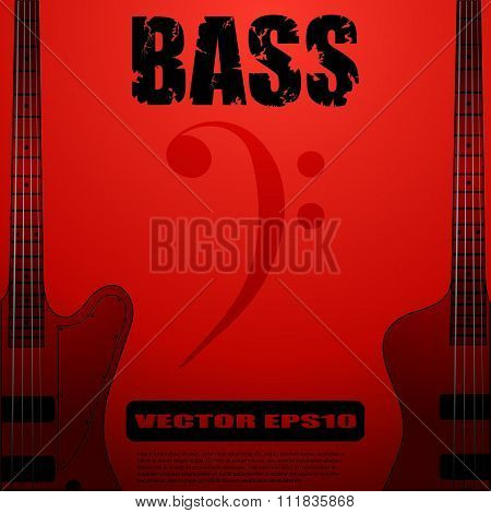 Electric bass guitar vector illustrations