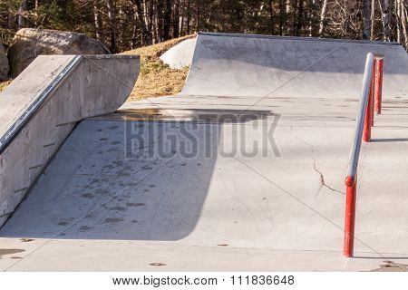 rail on skateboard parkour
