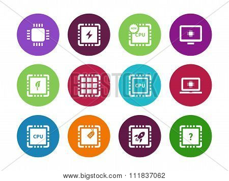 CPU, Central Processor Unit circle icons on white background.