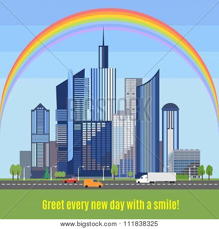 Modern city with developed infrastructure. Vector illustration