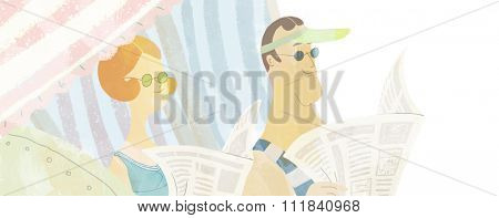 The illustration of young adult couple reading newspaper sitting in the beach cab