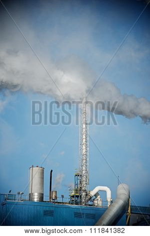 Smokestacks in a paper mill, Zaragoza Province, Spain.