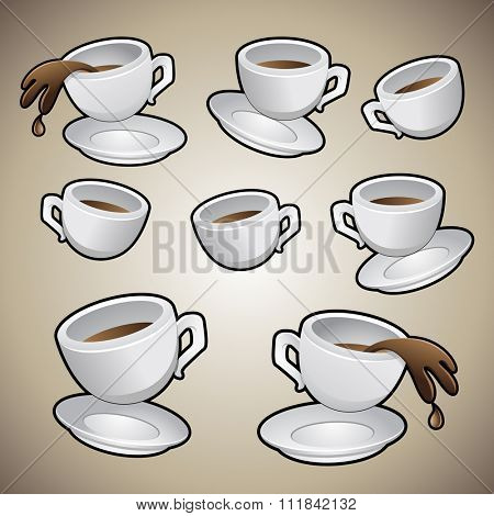 Vector Illustration of Coffee Cups isolated on a brown background
