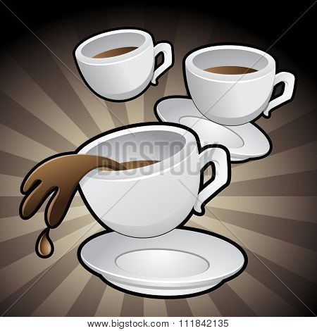Vector Illustration of Coffee Cups with saucers on a brown background