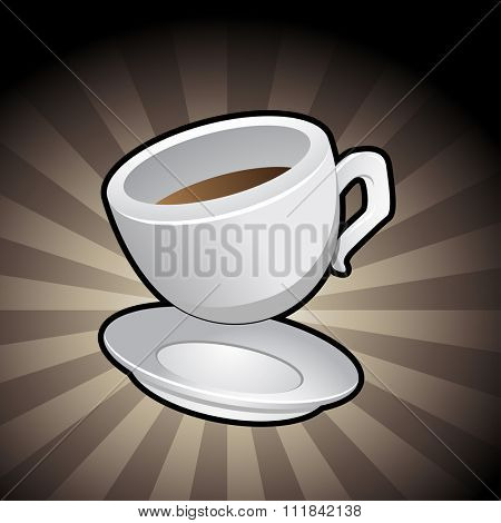 Vector Illustration of a Coffee Cup with a saucer on a brown background