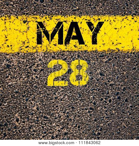 28 May Calendar Day Over Road Marking Yellow Paint Line