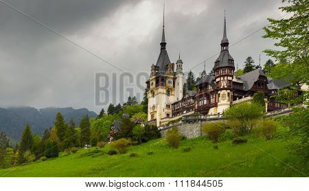 Peles castle  in the Carpathian Mountains, Romania