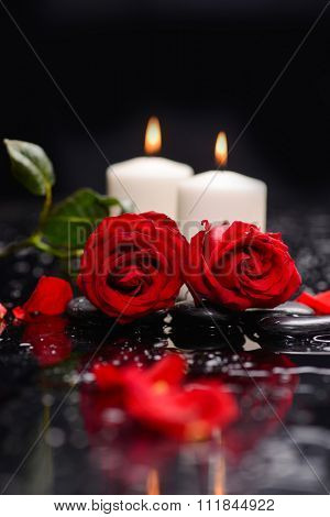 Valentines Day background-red rose with white candle