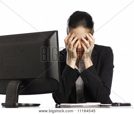 Young Businesswoman Depressed Looking At Laptop 4