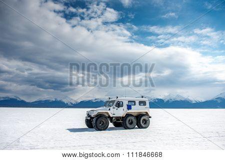 White Trecol 39294 Cross-country Vehicle At Lake Baikal.