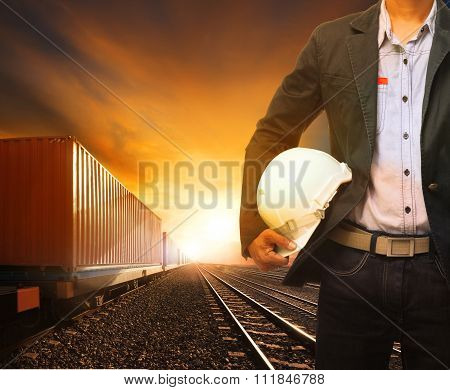 Industry Container Trainst Running On Railways Track And Working Man Use For Land Transport And Logi