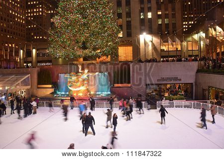 Ice Skaters Rockefeller Center New York