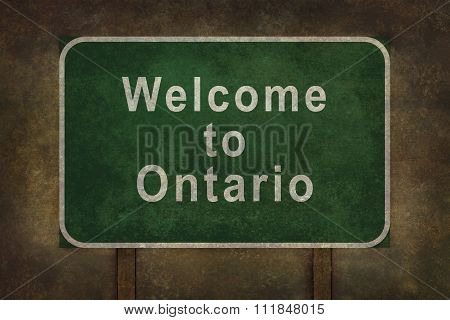 Welcome To Ontario Roadside Sign Illustration