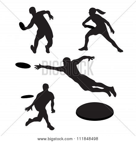 Men Playing Ultimate Frisbe 4 Silhouettes