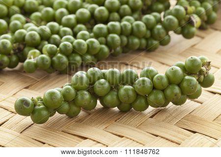 Fresh green unripe pepper drupes