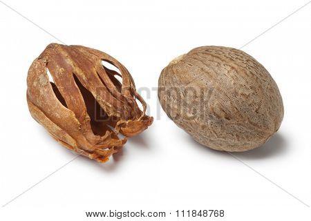 Single nutmeg kernel and mace on white background