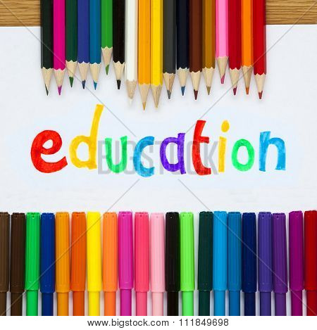 Education In Felt Tip With Pencil Crayons, Educational Design.