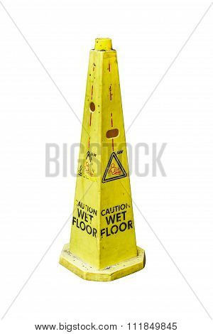 Yellow Caution Slippery Wet Floor Sign On Background.