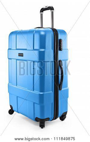 blue suitcase plastic half-turned