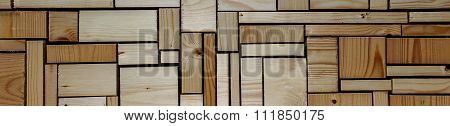 Woodwork Carpentry Background With Wood Blocks Abstract Tiles, Panorama.