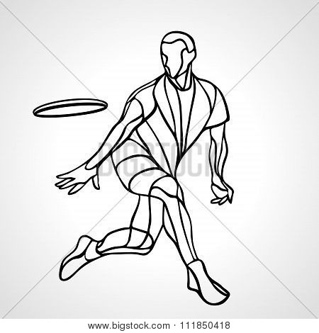 Sportsman Throwing Ultimate Frisbe. Vector Illustration