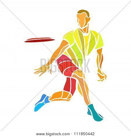 Sportsman Throwing Ultimate Frisbe. Color Vector Illustration