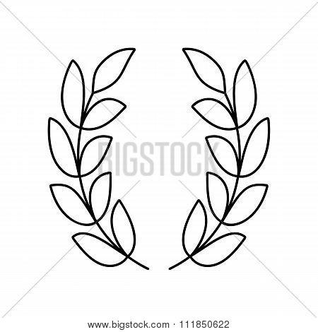 Laurel wreath line icon
