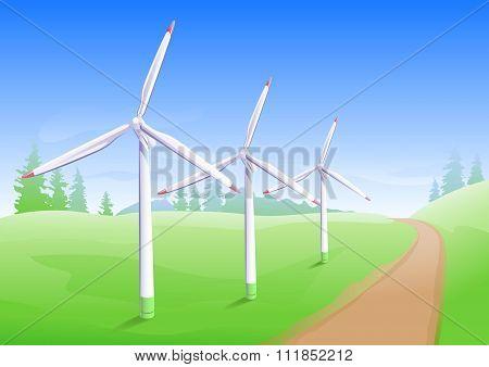 Wind power industry. Windmill energy generator