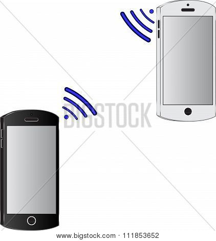 Two Mobile Phone Connected Wirelessly.