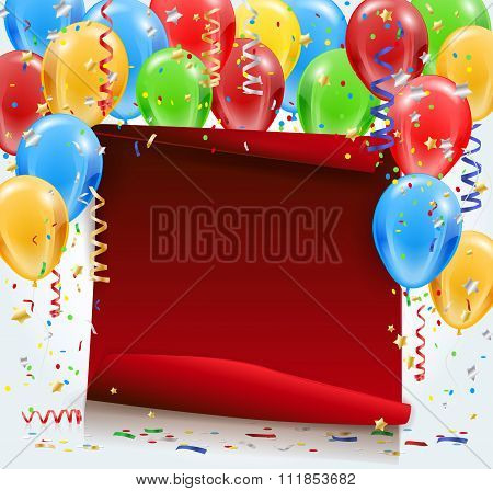 Party Background With Red Paper, Confetti And Balloons