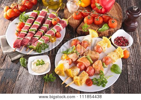 meat and fish barbecue