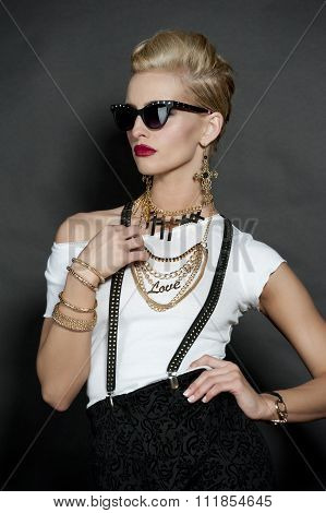 Chic Blonde Fashion Model on Black