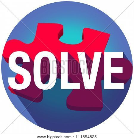 Solve word on puzzle piece with long shadow to illustrate completing a problem, challenge or dilemma