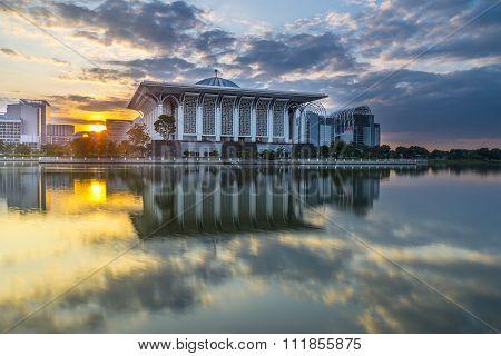 PUTRAJAYA, MALAYSIA - JANUARY 20, 2016: Masjid Tuanku Mizan Zainal Abidin during sunrise at Putrajaya Malaysia