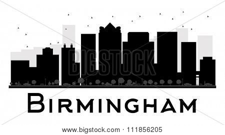 Birmingham City skyline black and white silhouette. Simple flat concept for tourism presentation, banner, placard or web site. Business travel concept. Cityscape with famous landmarks