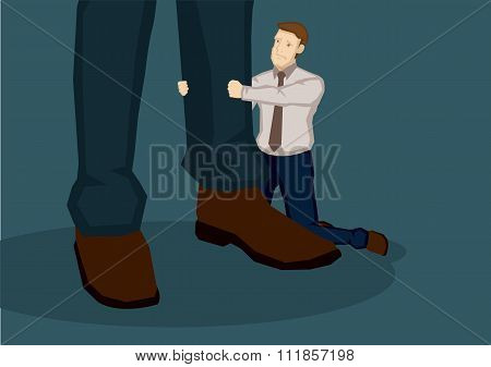 Cartoon Man Begging Vector Illustration