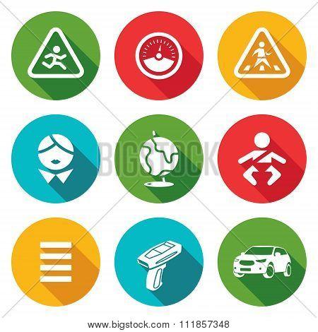 Child safety Icons Set. Vector Illustration.