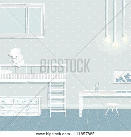 Children boys room in blue background design