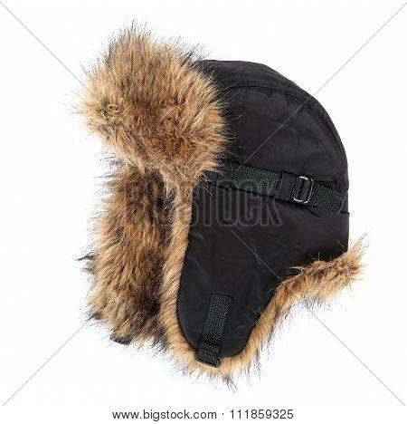 Stylish Winter Hat Isolated On White