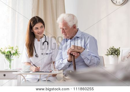 Patient Talking To Community Nurse