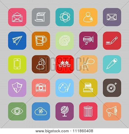 Message And Email Line Flat Icons