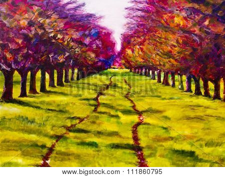 Contemporary painting of a path through a line of trees, an orchard in summer